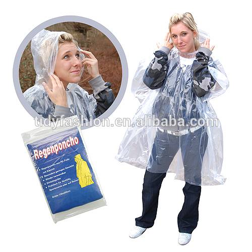 Emergency Adult Poncho Raincoat With Hood