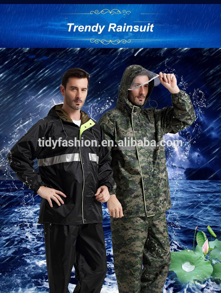 Trendy Hooded Nylon or Polyester Waterproof Rainsuit For Man
