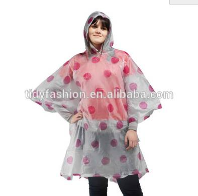 Allover Printing Plastic Ladies Fashion Poncho