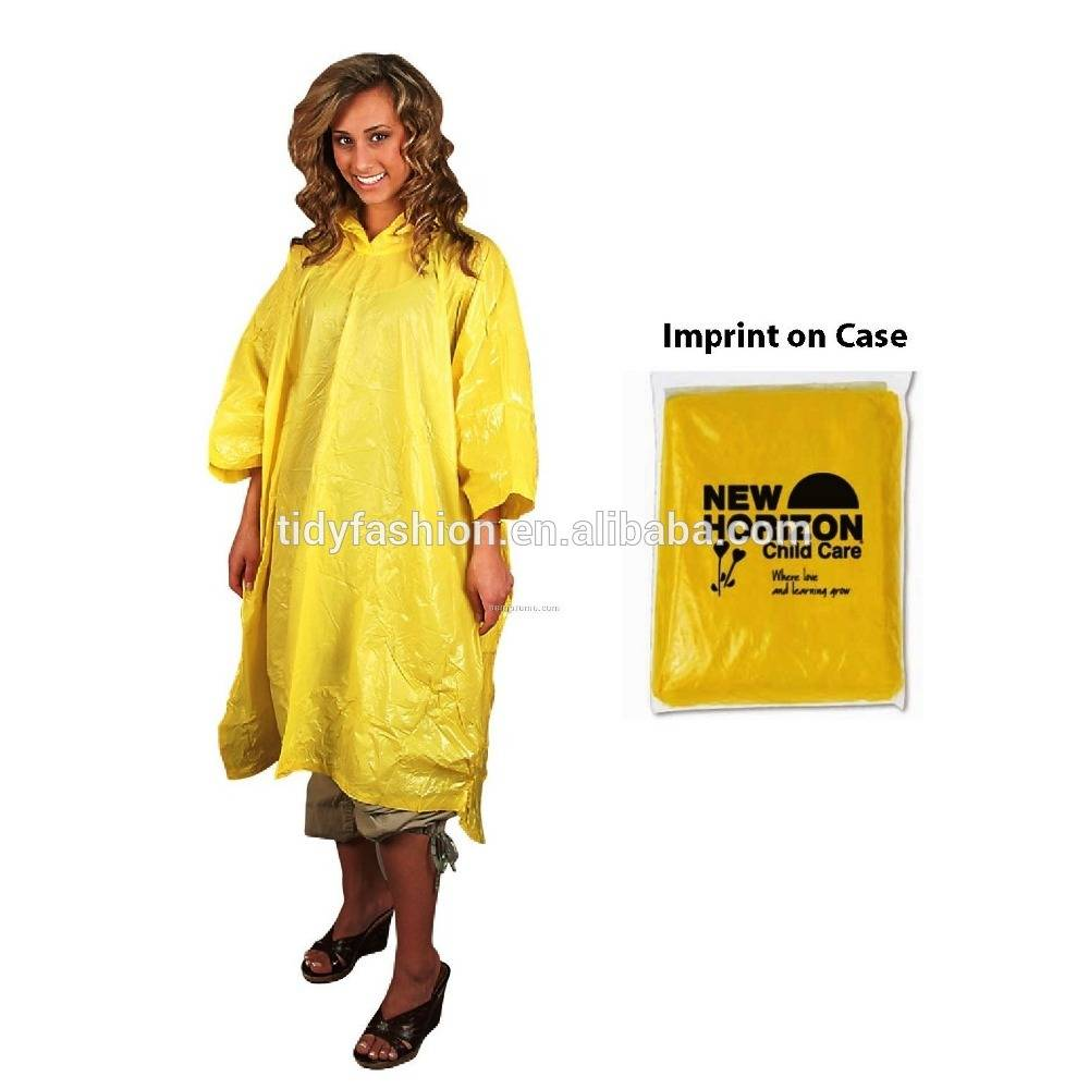 Heavy Weight Logo Printing Disposable Rain Poncho With Sleeves
