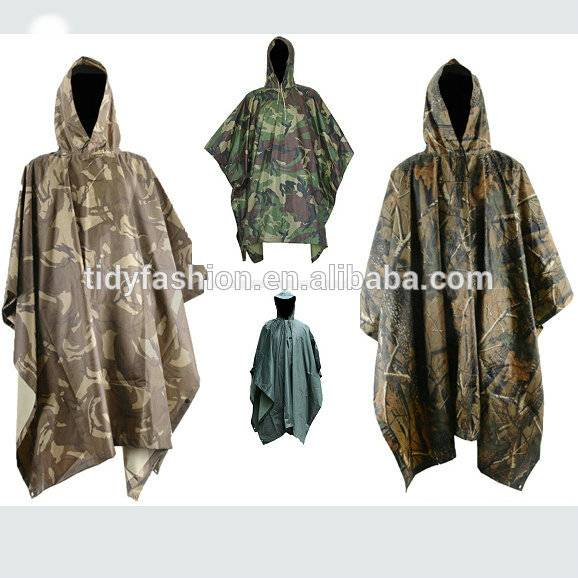 Heavy Waterproof Military Nylon Rain Poncho