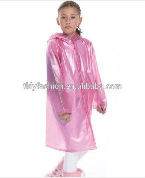 Popular Plastic Pink Girls Full Body Raincoat
