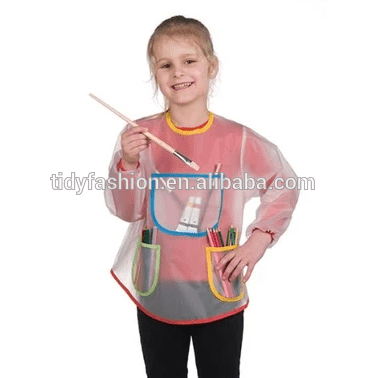 Cute Kids White Apron With Long Sleeves
