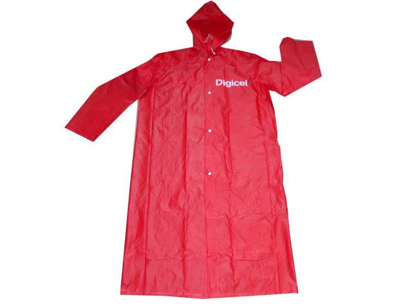 Red PVC raincoat with logo