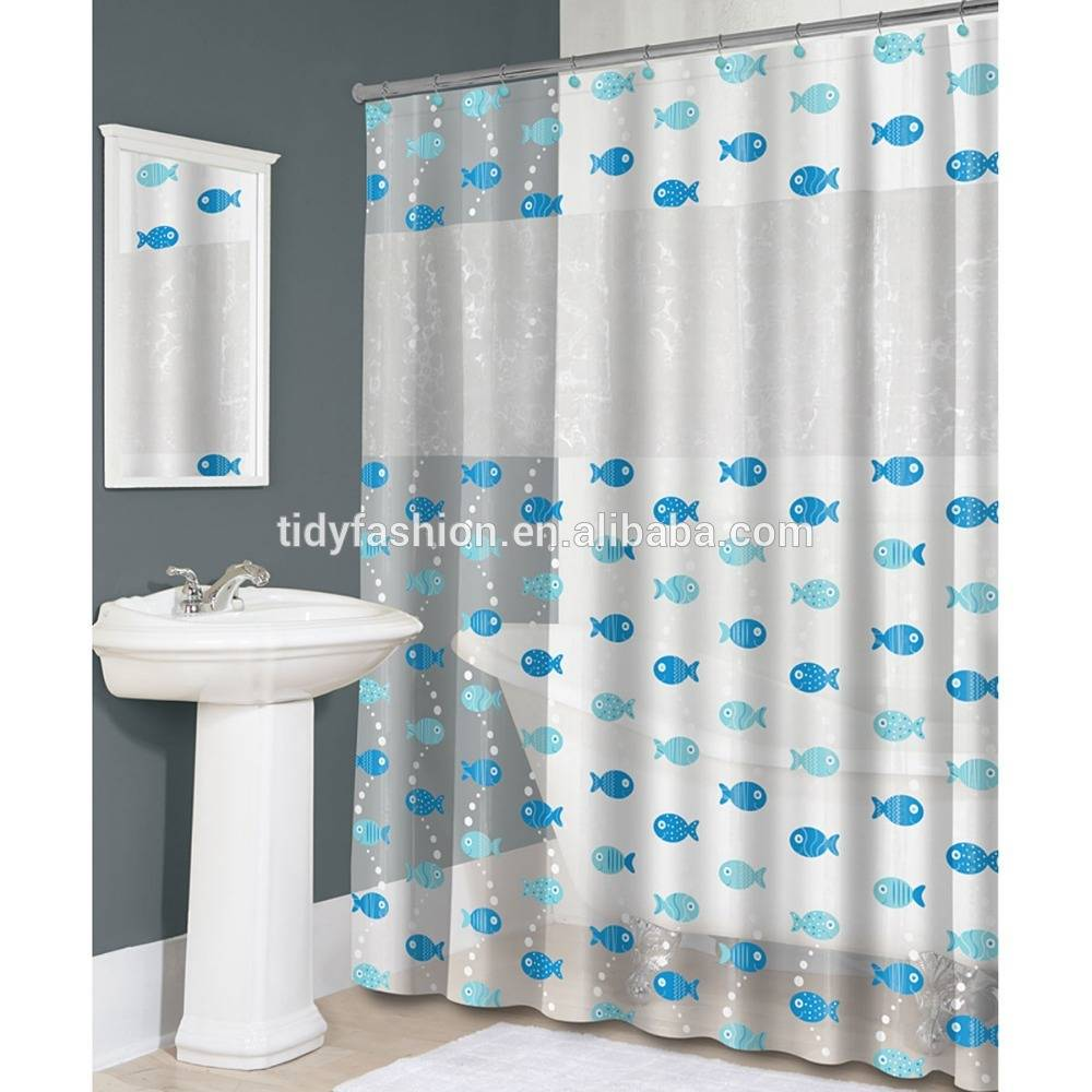 White Custom Printing Plastic PEVA Shower Curtain