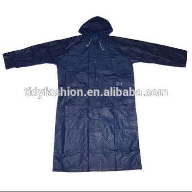 Clear Plastic PEVA raincoat Blue Rain Coat