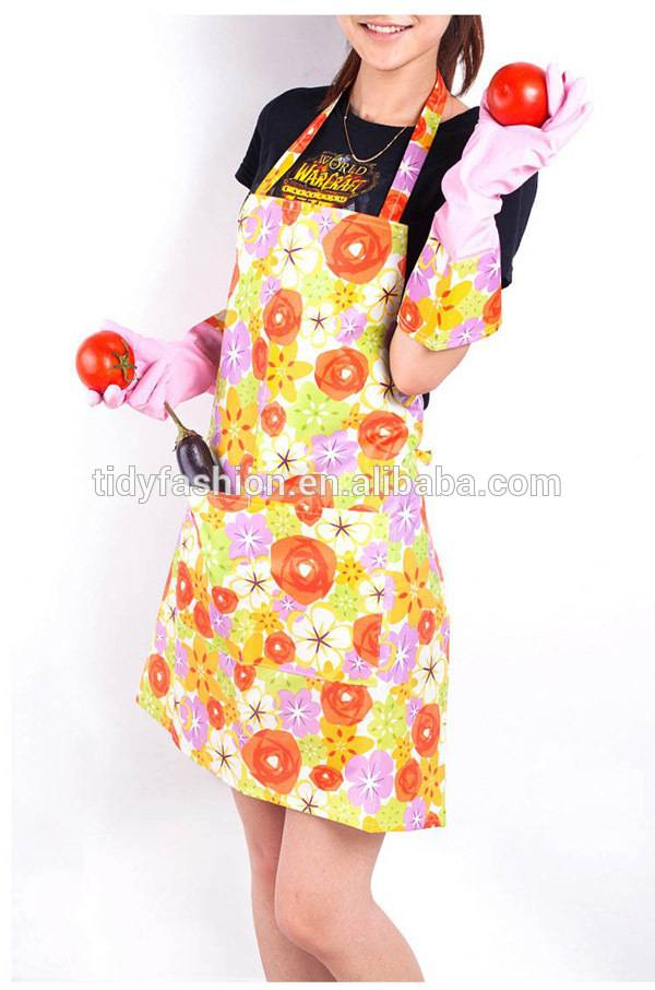 Womens Wipe Clean Waterproof PVC Kitchen Flower Pattern Waist Apron