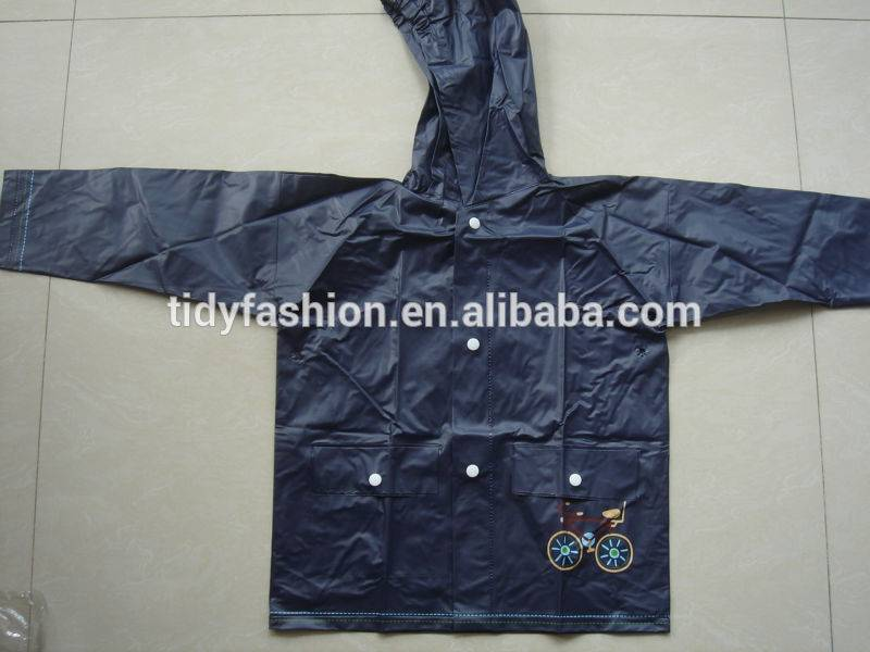 Print Rubber Kids Rain Coat For Boys