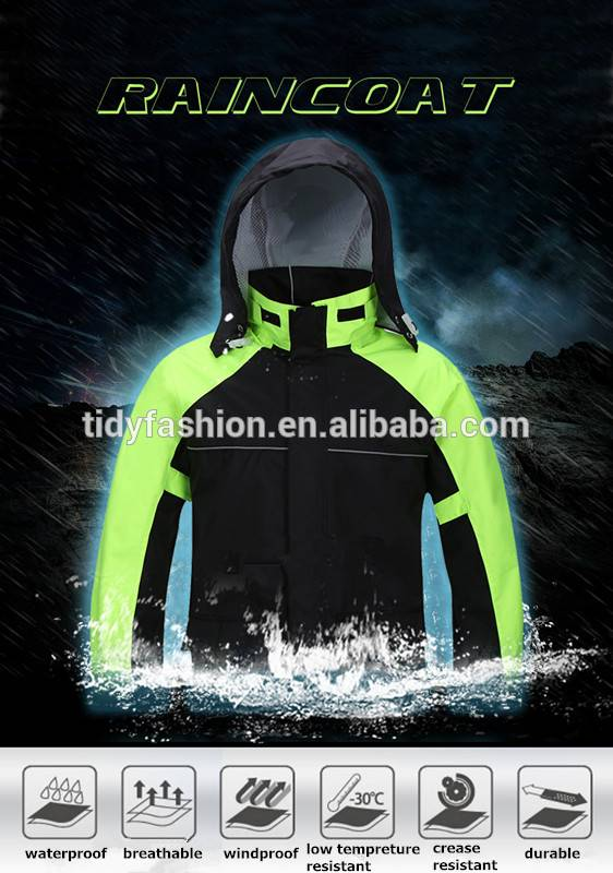Nylon or Polyester Waterproof Motorcycle Raincoat Rainsuit