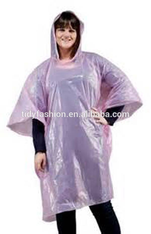 Pink Waterproof Plastic Cute Rain Poncho For Women