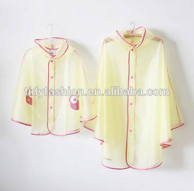 Transparent Yellow Vinyl Rain Cape For Family