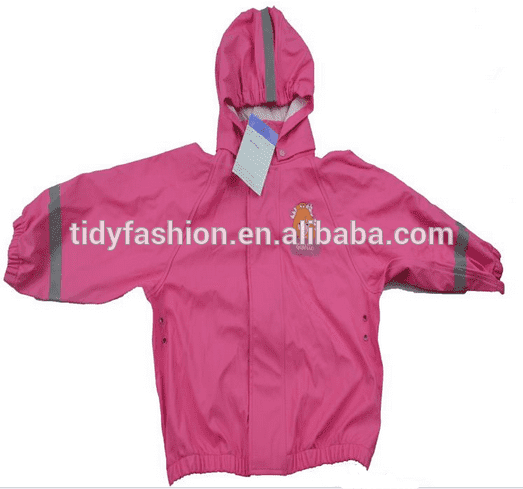 Allover Printing Purple Kids PU Raincoat