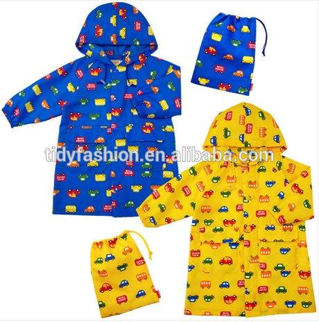 Car Printed Custom PVC Rain Coat For Kid