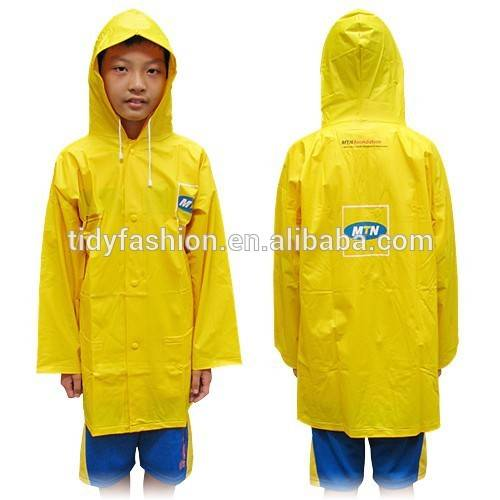 Cheap Plastic Yellow Kids wholesale Raincoat