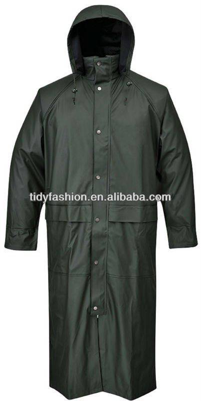 Waterproof PU Long Raincoat, Fashion Plastic Hooded Raincoat