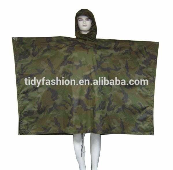 PVC/Polyester Army Military Uniform Camouflage Rain Poncho