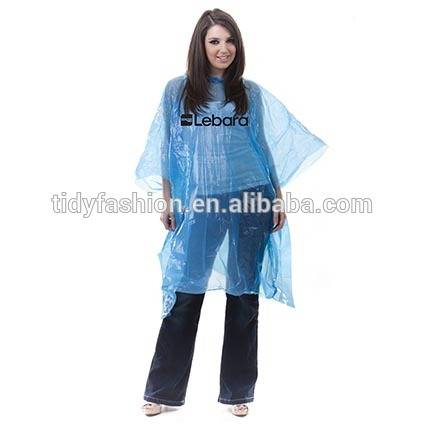 Factory wholesale Cloak Poncho - Custom Printed Logo Disposable PE Rain Poncho – Tidy