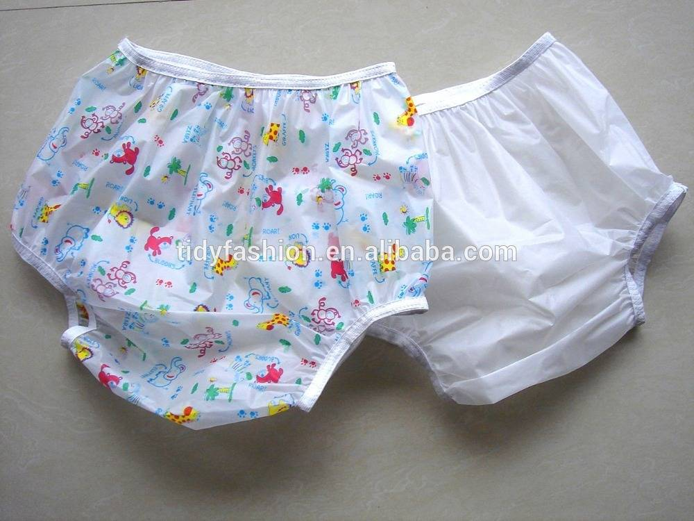 Leak-guard Animal Printed Transparent Adult Plastic Pants