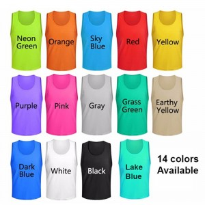 Training Bibs Adults and Kids Breathable Quick Drying Soccer Pinnies Football Team Jerseys Vest for Sports Scrimmage Practice