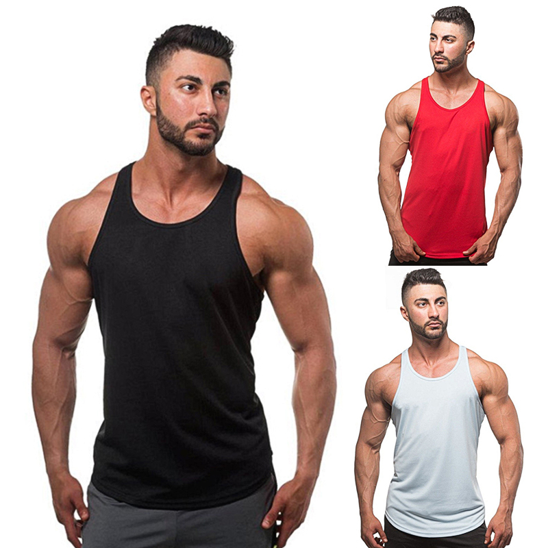 Cotton plain bodybuilding custom fitness vest sport tank top for men Featured Image