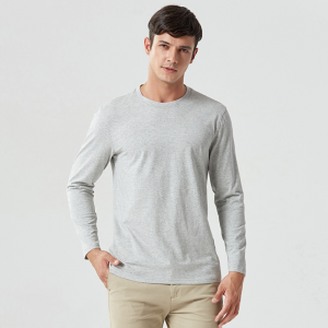 Wholesale high quality plain long sleeve t shirt Pure Colour 100% cotton t- shirts