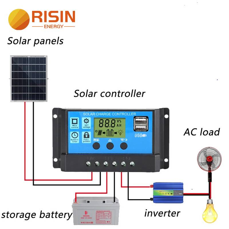 Risin 10A 20A 30A Intelligent PWM Solar Charge Controller for 12V 24V solar panel system