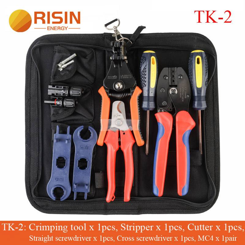 PV Solar MC4 Tool Set kits Bag For MC4 Multifunction Including Crimping Tool Stripping Plier