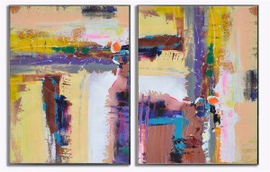 2 panel wall art painting colorful abstract art #RG20227