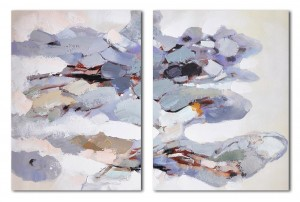 2 panel lavender Abstract oil Painting #RG20224