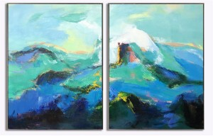 2 panel textured abstract art mountain painting #RG20229