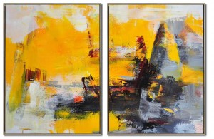 2 panel yellow abstract painting oil on canvas #RG20231