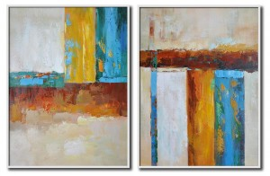 2 piece geometric abstract art hand-painted oil painting#RG20232