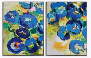2 panel blue abstract art handmade oil painting on canvas #RG20225