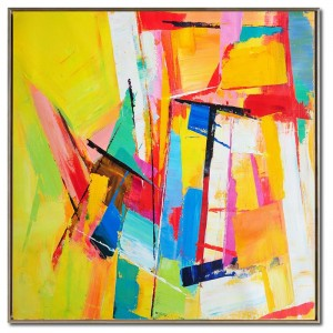 Contemporary Abstract Paintings yellow pink blue #RG20234