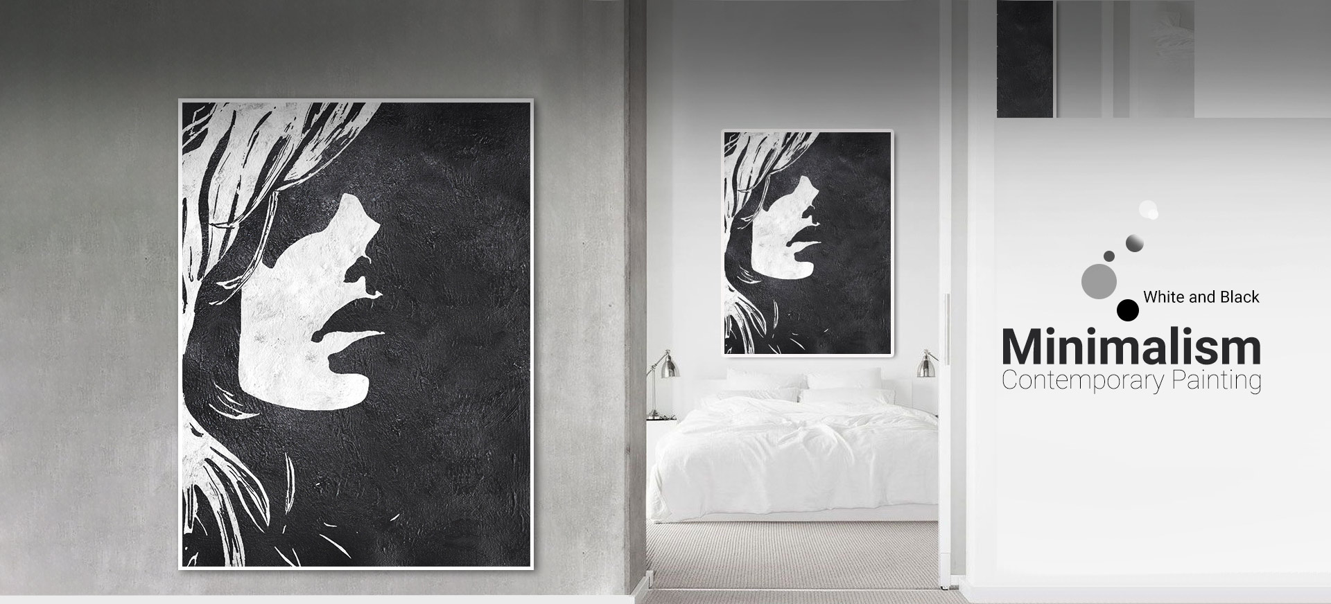 minimalist modern abstract white black painting