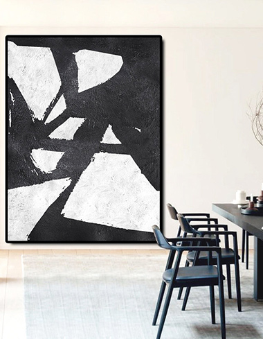 simple, modern, perfect, contemporary abstract modern white black art painting