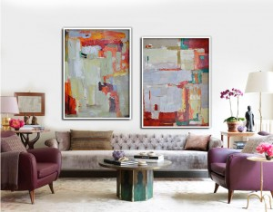 Set of 2 contemporary large abstract canvas art oil painting RG20268 Modern Abstract