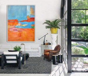 Original canvas art modern abstract orange blue oil painting RG20271 Modern Abstract