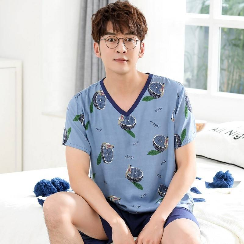 Summer Mens Shot-sleeved Pajamas High Quality New 100% Cotton Comfortable Men Sleepwear Set Featured Image