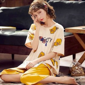 Summer Womens Short-sleeved pajamas High Quality New 100% Cotton Comfortable WomenSleepwear Set