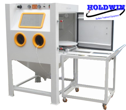 Dry sandblast machine with turntable