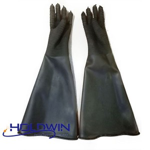 High quanlity Industrial black long rubber Sandblast gloves