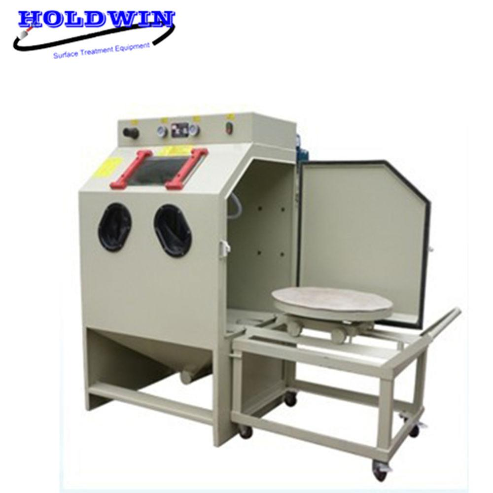 Holdwin High Quality Sandblasting Machine Turntable Sandblaster Aluminum sand blasting machine with Trolley Cart
