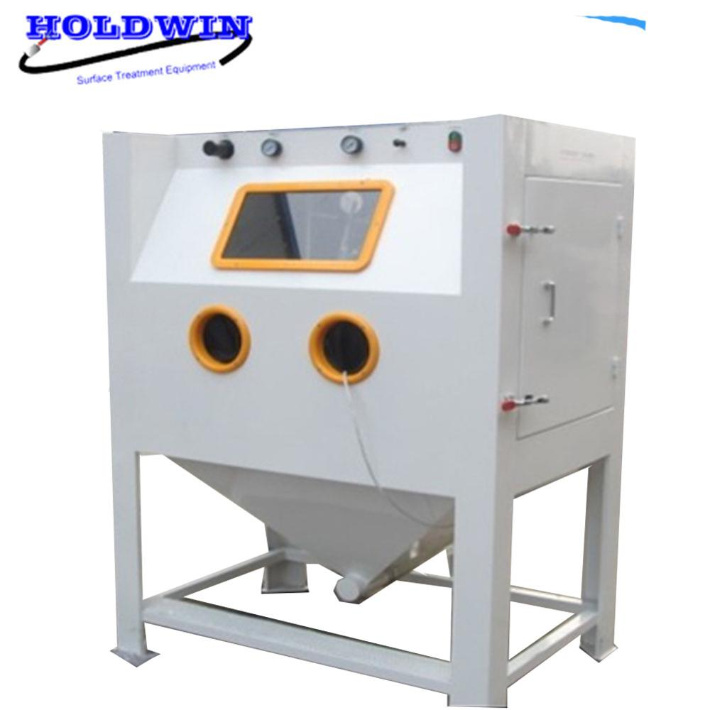 Holdwin Dry Soda blasting Machine Mold Sandblaster Cabinet Turntable Sand Blast Equipment with Trolley Cart