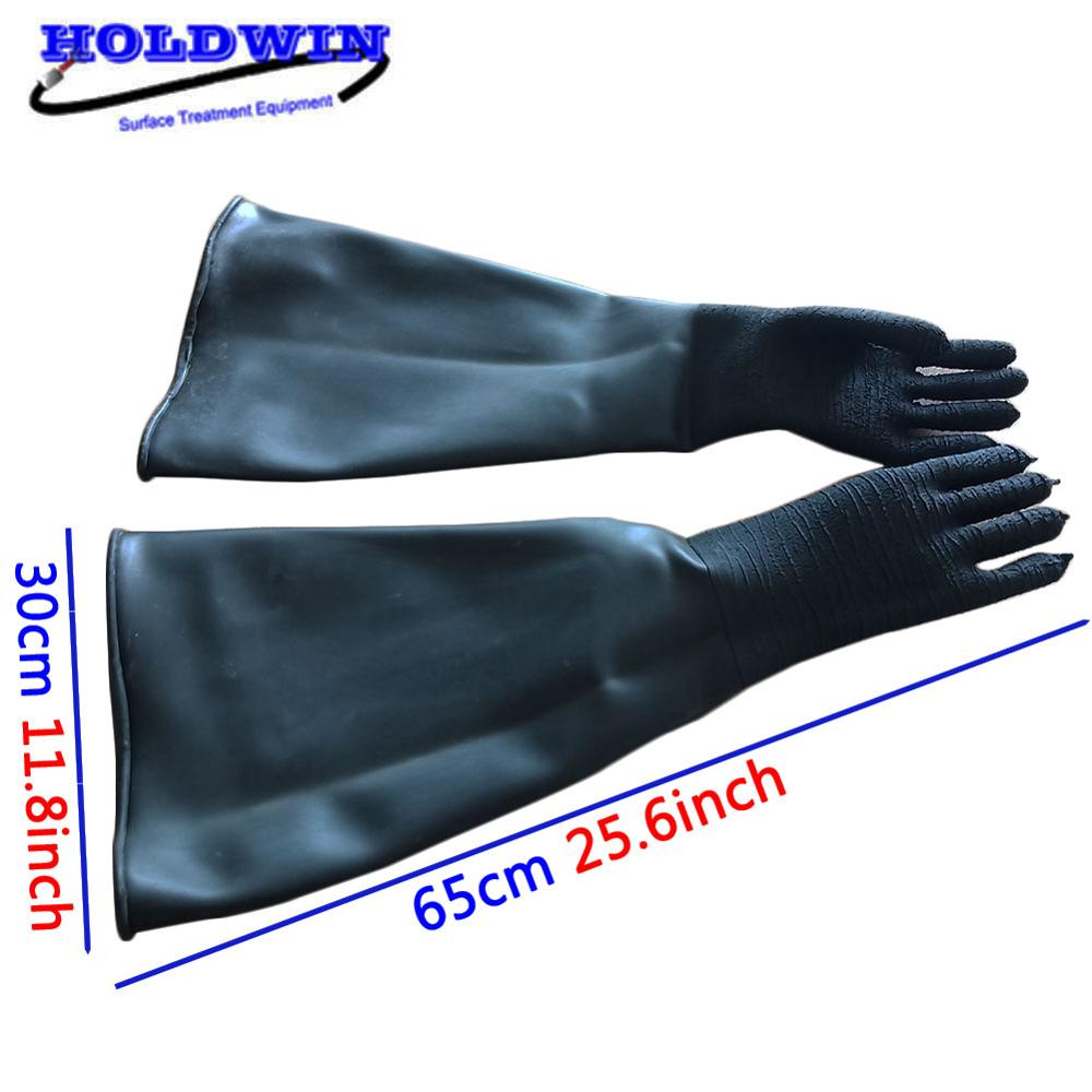 HOLDWIN 100% Natural rubber black Sandblasting glove Rubber Sandblast Gloves Sand Blasting Glove for Sandblaster Cabinet