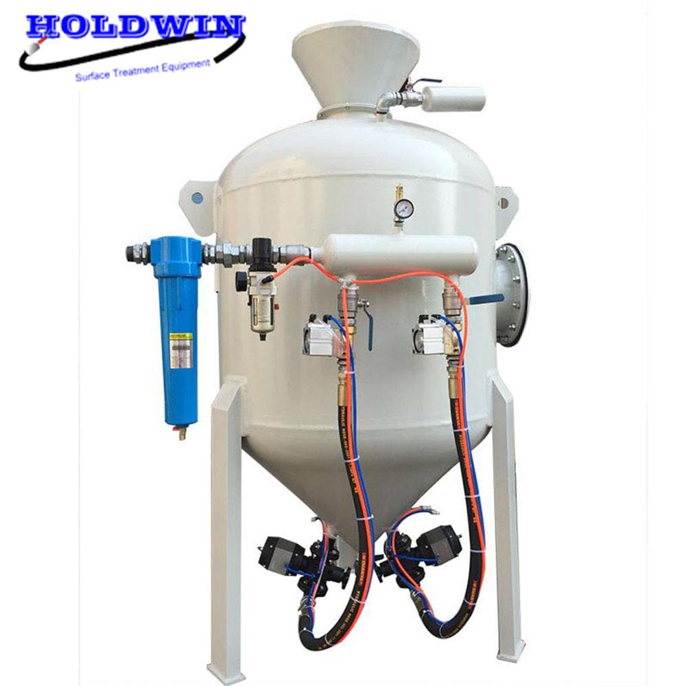 Holdwin Pneumatic Sandblast Cabinet Deadman Double Sandblaster Gun Sandblasting Tank Surface Cleaning Machine 150L-3000L