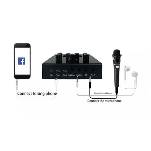 Audio set soundcard bluetooth function for Pc mobile sing live sound card