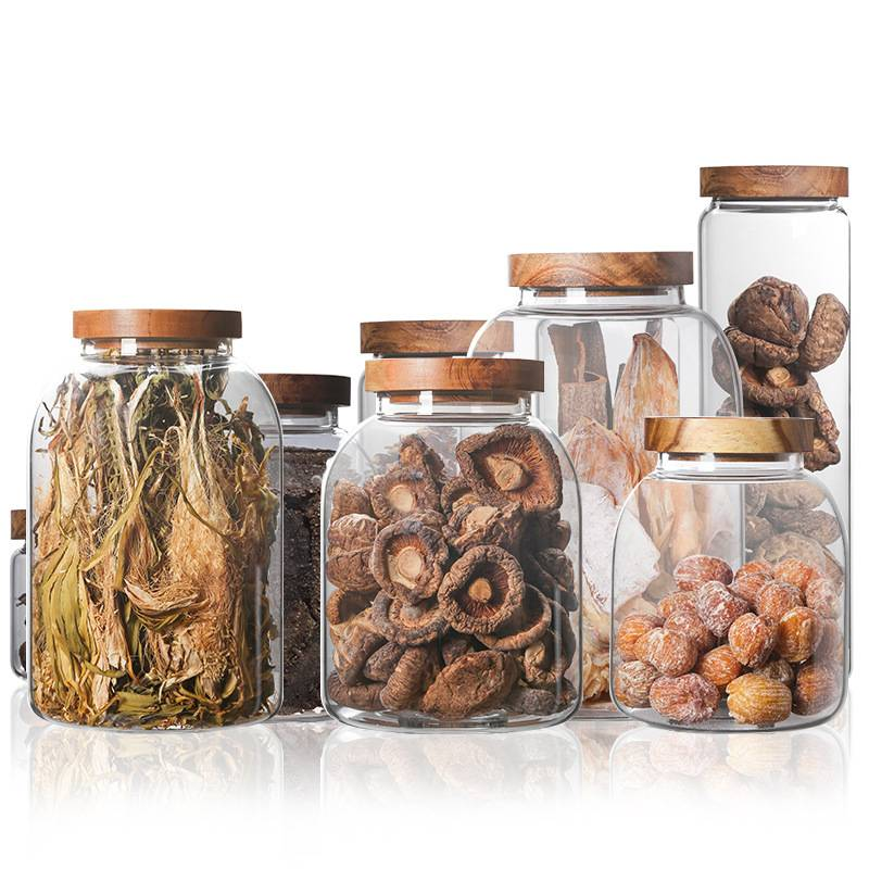 Wooden cover glass storage jar