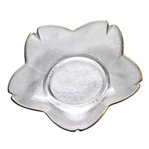 Hot sell flower – shaped transparent glass salad, fruit and vegetable bowl