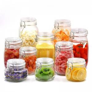 Square Glass Kitchen Storage Canister Jars with Clear Lid